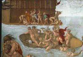 Il Diluvio Universale di Michelangelo nella cappella Sistina, particolare